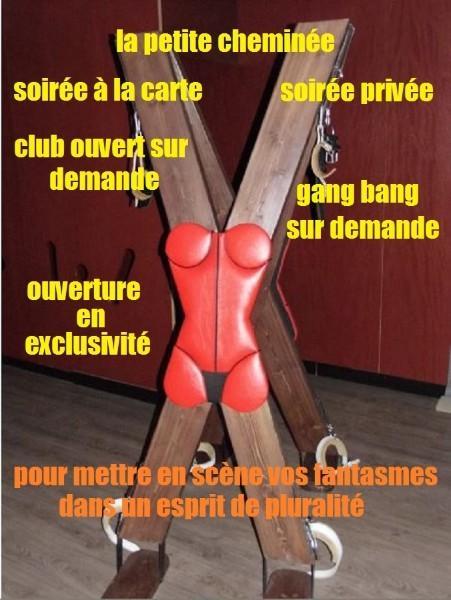 club libertin la petite cheminée n'est ouvert  que sur demande  le mardi, le mercredi  soirée libertine sur mesure